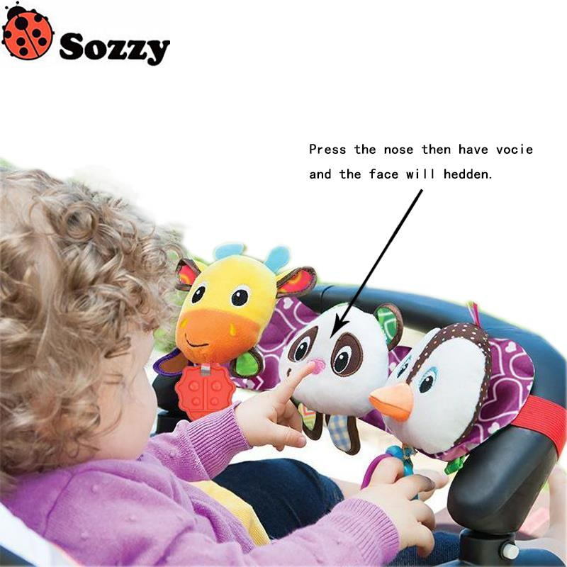 3pcs/sets Sozzy Sound And Light Childrens Car Hanging Bed Hanging Ring-pull Gutta Music Light Penguins Hanging Car Baby Toys #E