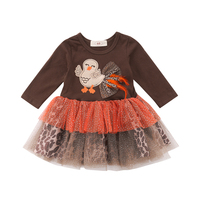 3e15cab7b Thanksgiving Kids Baby Girl Party Tutu Dress Sundress Gifts Toddler Girls  Turkey Lace Leopard Tulle Dresses