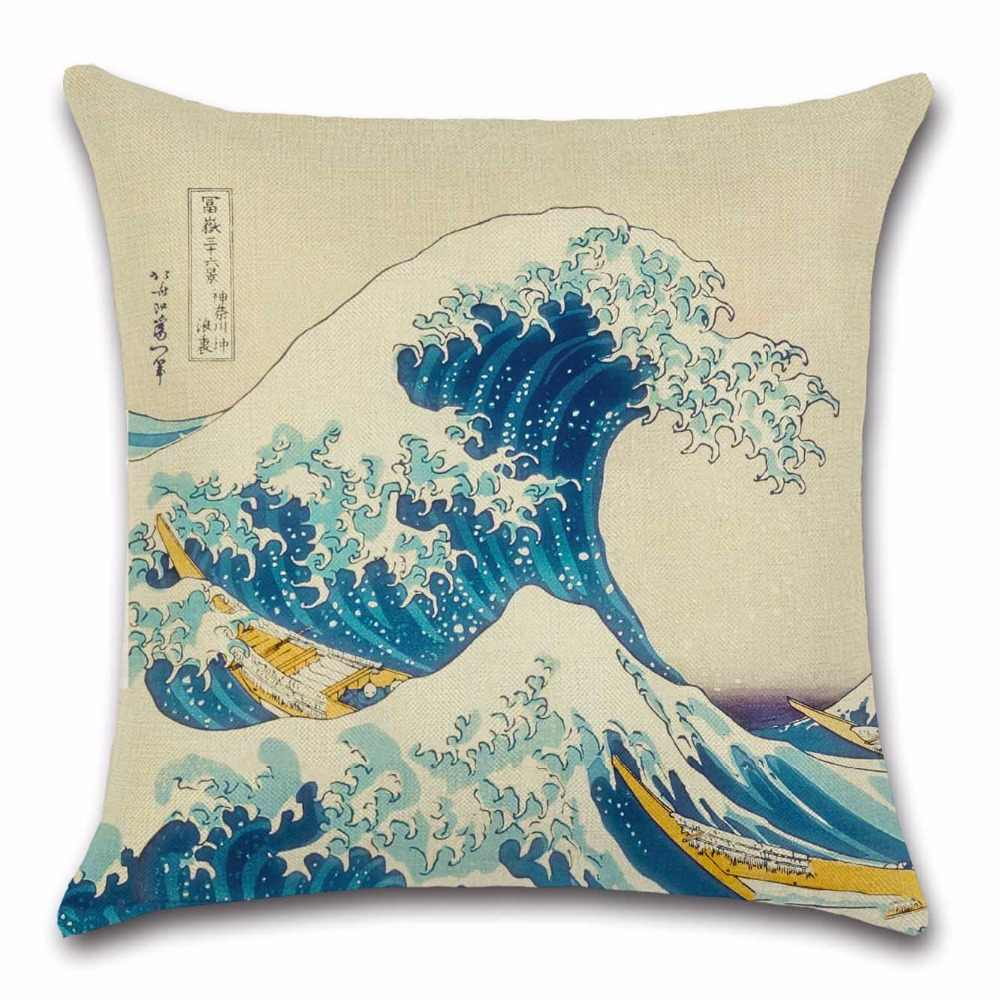 Japanese Style Painting Fuji Mountain View Pillowcase Cushion Cover Home Decor