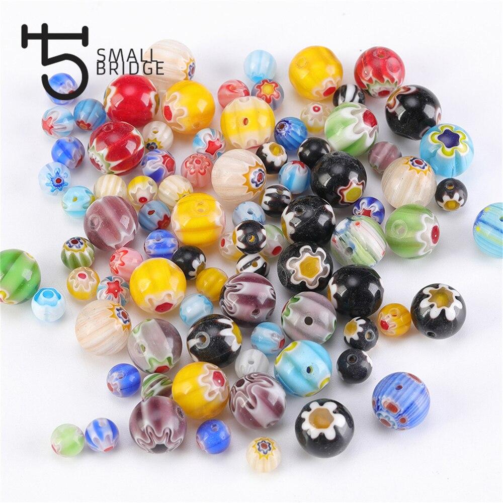 8//10mm 100Pcs Millefiori Glass Heart Beads DIY Craft Jewelry Making Findings LOT