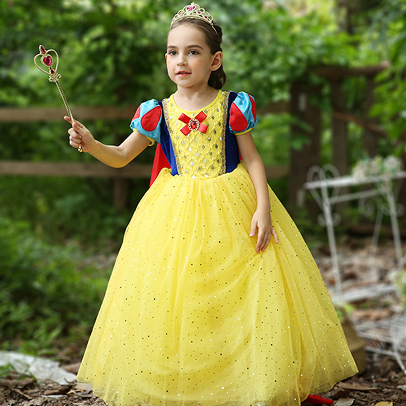 kids Deluxe Snow White Costume Fairytale Snow Princess Cosplay Fancy Dress Halloween Party Gown halloween costumes for kids