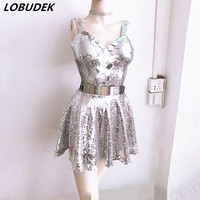 Sparkly Crystals Diamond sexy slit long dress Nightclub Bar DJ DS Costumes Female singer Prom Party show stage performance Dress