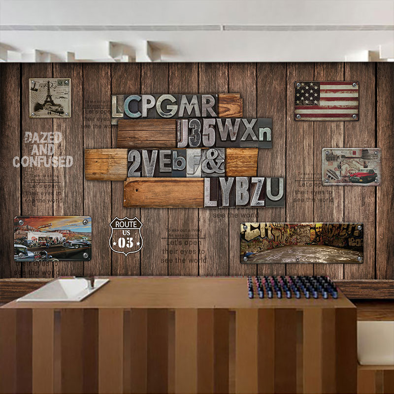Custom mural Wooden sheet metal wall painting coffee shop restaurant Bar theme hotel background English letter wallpaper mural