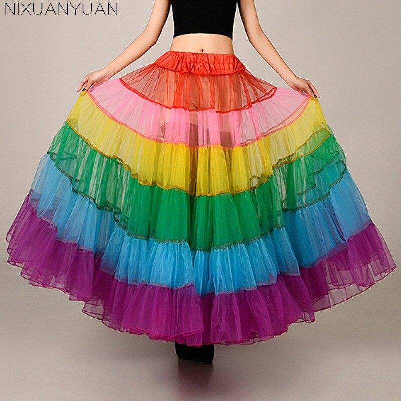 7df389207 NIXUANYUAN moda colorida Falda larga una línea Crinoline enaguas para  vestidos de graduación ...