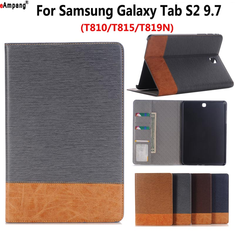 Cowboy Cloth Leather Case for Samsung Galaxy Tab S2 9.7 T810 T815 T819 T813 Smart Case Cover Funda Tablet Slim Flip Stand Shell pu leather with card slots stand cute book cover case for samsung galaxy tab s2 9 7 inch tablet t810 t813 t815 t819 t819c t815c