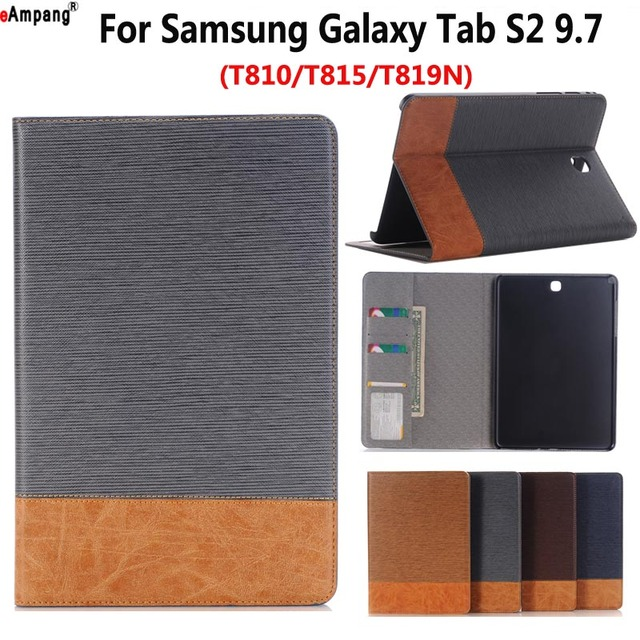 the best attitude adedb 50166 US $11.81 20% OFF|Cowboy Cloth Leather Case for Samsung Galaxy Tab S2 9.7  T810 T815 T819 T813 Smart Case Cover Funda Tablet Slim Flip Stand Shell-in  ...