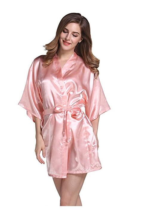 Kimono Robe Dressing-Gown Satin Silk Wedding Bride Women Short Fashion