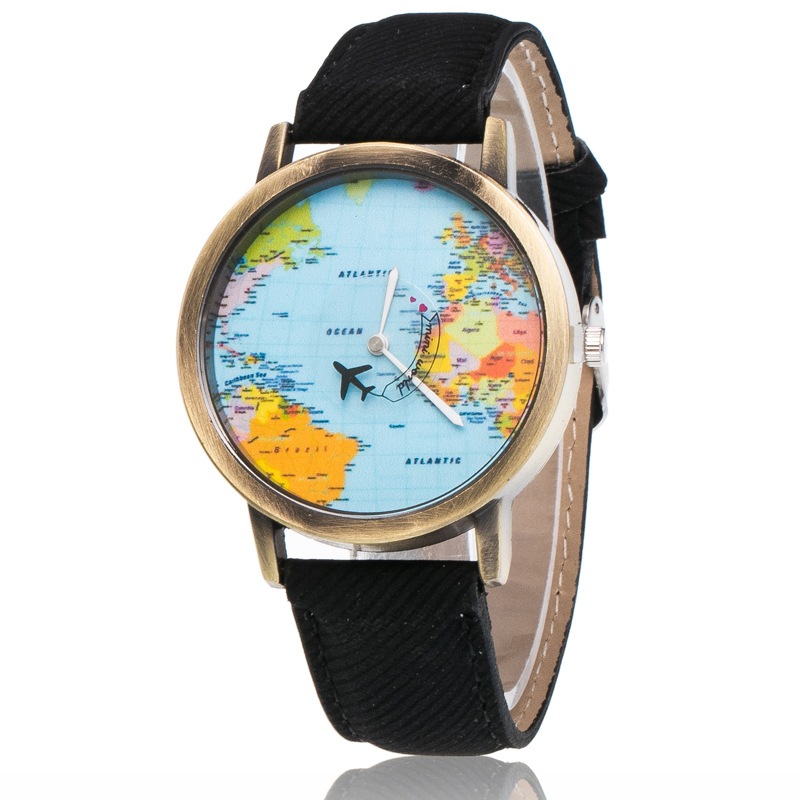 Relogio Masculino Casual Watch Travel World Map Flight Airplane Watch Denim Strap Quartz Watches Women Dress Wristwatch Gifts