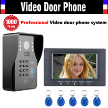 7 Inch Screen Video Door Phone Intercom System 1000TVL Password Code Keypad Camera 5pcs ID Card Video Doorbell Kit
