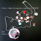 1pc floating locket living charm Memory Locket Necklace+13pcs charms+necklace Free shipping