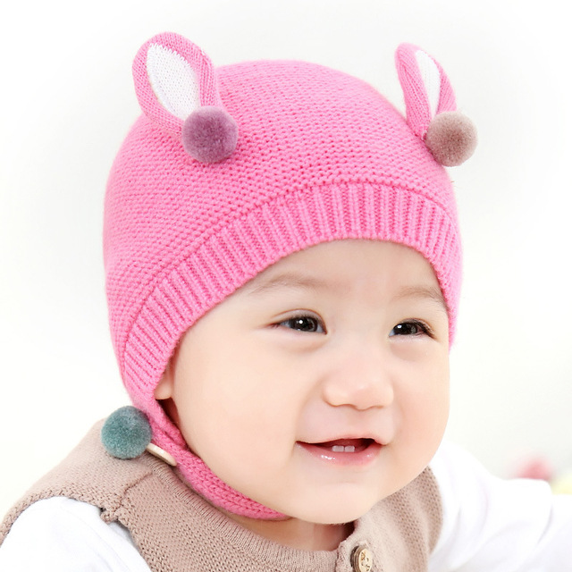9c619970a US $4.87 |DreamShining Baby Boys Girls Hat Autumn Winter Newborn Earmuffs  Knitted Wool Hats Toddler Infant Warm Beanie with Ears Baby Cap-in Hats &  ...