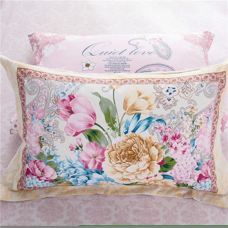 Flowers 100% Cotton Print Bedlinen Queen Full Twin size bedsheet pillowcase Duvet cover 4pc bedding set