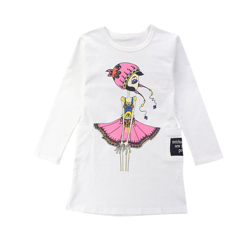 TELOTUNY Fashion Teenage Toddler Infant Baby Kids Cartoon Girls Print Princess Dresses Outfits 2019 newst baby dress Z0208