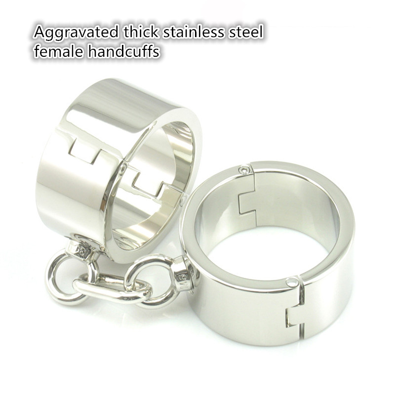 ФОТО New stainless steel Aggravated thick female handcuffs sex products bdsm bondage restraints erotic toys adult sex toys for women