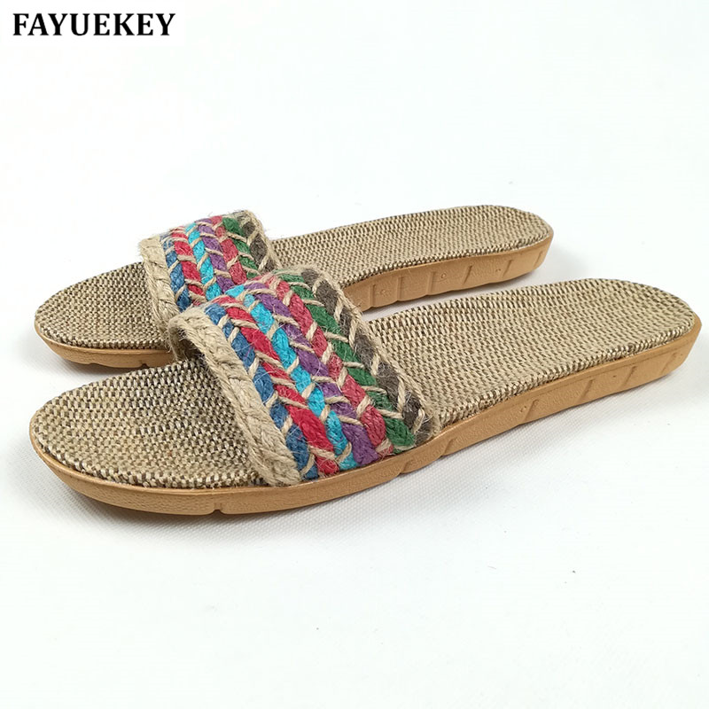 FAYUEKEY New Summer Home Linen Flax Slippers Women Floor Non-slip Beach Bedroom Breathable Sandals Slides Flat Shoes