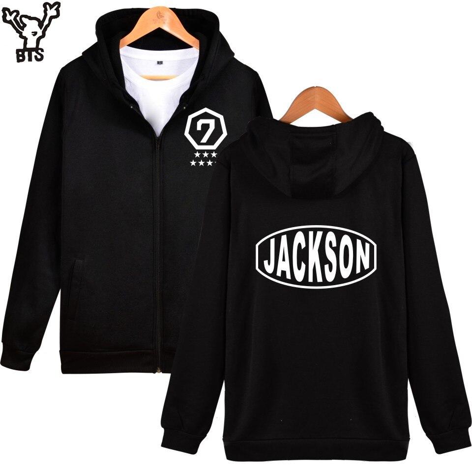SMZY BTS GOT7 Hoodies Women Zipper Korean Popular Portfolio Women Hoodies Sweatshirts Fashion Female Fans Black Clothes 4XL