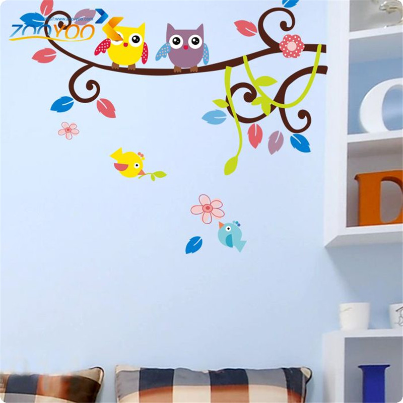 creative popular kids room birthday gifts wall stickers medium vinyl removable two owls on the tree 3d wallpaper home decals