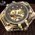 SHENHUA Luxury Brand Retro Bronze Automatic Mechanical Watch Men Skeleton Watch Clock Leather Strap Military Sport Watches