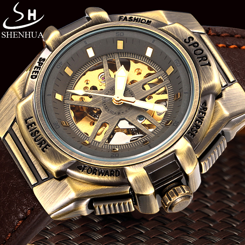 SHENHUA Retro Bronze Automatic Mechanical Watch Men Skeleton Watch Luxury Brand Clock Leather Strap Military Sport Watches luxury brand shenhua steampunk transparent skeleton crystal flywheel automatic genuine leather strap dress mens mechanical watch