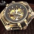 Shenhua marca de luxo retro bronze relógio mecânico automático homens relógio esqueleto pulseira de couro relógio militar esporte relógios
