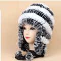 Russian fur cap earflap ski fur cap of real rex rabbit fur, black white red brown gray  winter knit warm brand hat for womenH654
