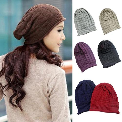 Rhombus Pattern Tricorne Knit Winter Warm Crochet Hat Braided Baggy Beret Beanie Cap