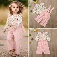 Комплект из 2 предметов для маленьких девочек, розовый комбинезон с длинными рукавами и цветочным принтом, зимняя одежда, модная Милая повсе...