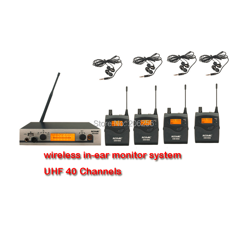 acemic em 650 wireless in ear monitor system uhf frequency use for stage monitor and program. Black Bedroom Furniture Sets. Home Design Ideas