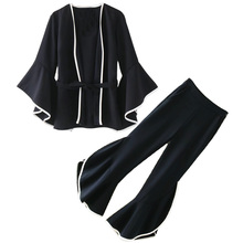 Two-piece suit kimono style suits jacket high waist wide leg pants fashion TB88
