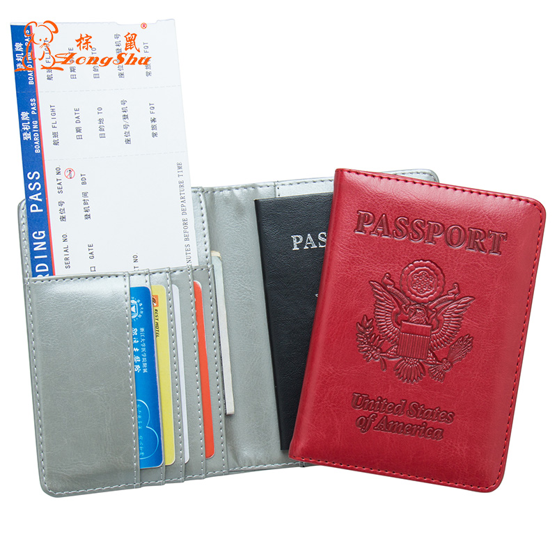 Card & Id Holders Usa Oil Soft And Solid Red Passport Cover Travel Passport Holder Built In Rfid Blocking Protect Personal Information Sale Overall Discount 50-70% Coin Purses & Holders