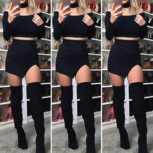 3pcs Womens Sexy Off shoulder Long Sleeve Crop tops +Evening Party Mini Skirts+Neckerchief Size 6-14