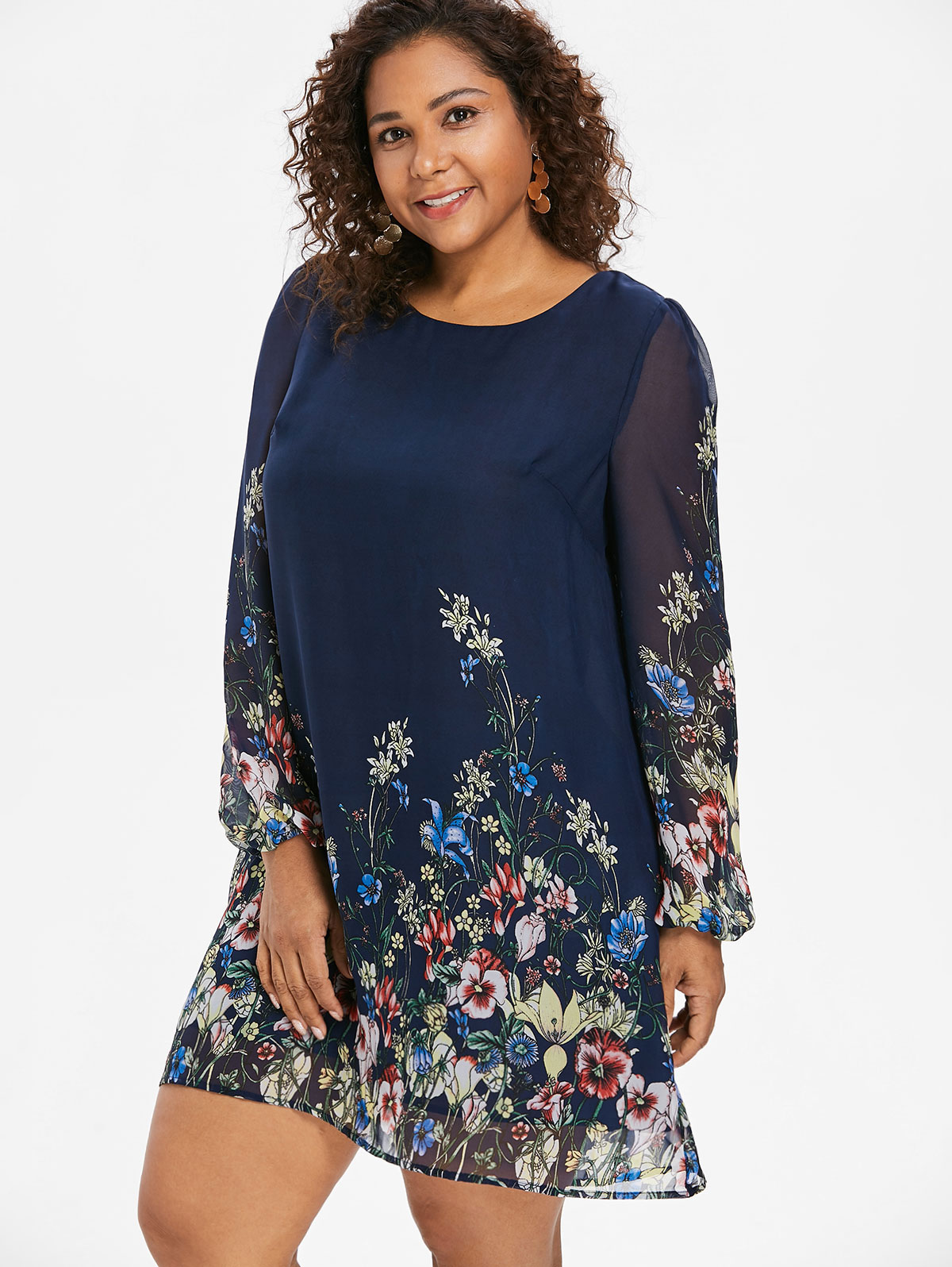 US $10.59 54% OFF|Wipalo Navy Blue Plus Size Floral Embroidery Tunic Dress  Spring Summer Elegant Large Sizes Tribal Flower Print Vocation Dress-in ...