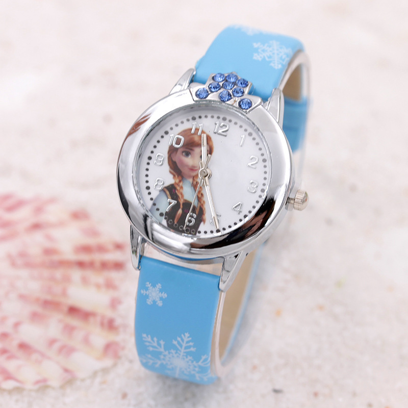 2016 New relojes Cartoon Children Watch Princess Elsa Anna Watches Fashion Kids Cute relogio Leather quartz WristWatch Girl Gift 2016 new relojes cartoon children watch princess elsa anna watches fashion kids cute relogio leather quartz wristwatch girl gift
