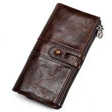 남자 지갑 핸드폰 홀더와 긴 지퍼 정품 가죽 남성 클러치 백 고품질 카드 홀더 지갑