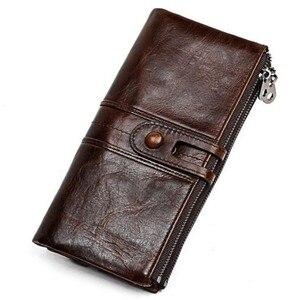 Image 1 - Mannen Portemonnees Lange Rits Lederen Mannelijke Clutch Bags Met Gsm Houder Hoge Kwaliteit Kaarthouder Portemonnee
