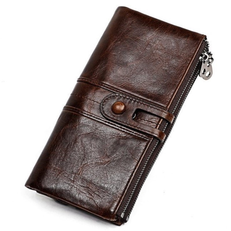 Men Purses Long Zipper Genuine Leather Male Clutch Bags With Cellphone Holder High Quality Card Holder Wallet