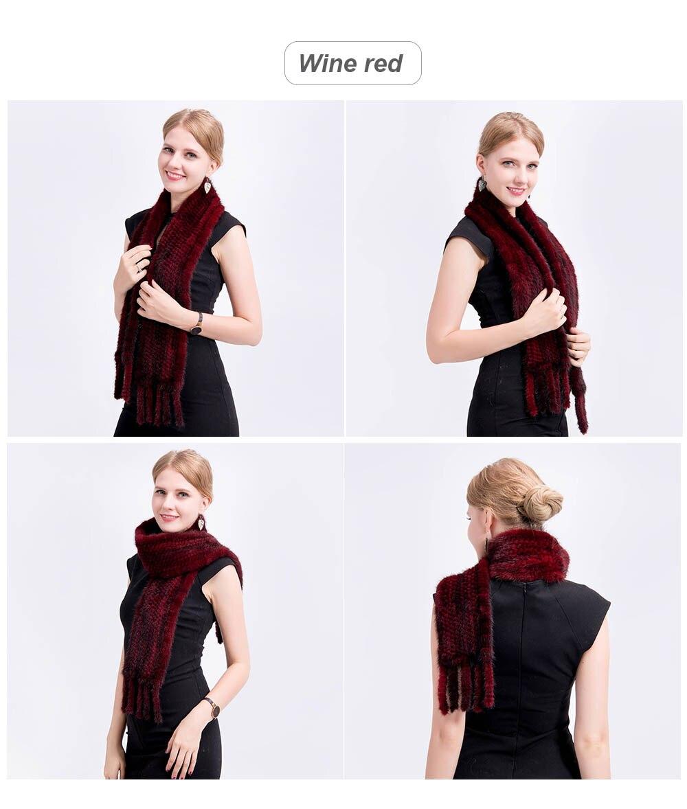 mink fur scarf color red
