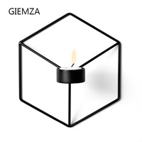 GIEMZA Hexagon Sconce Candlestick 3D Iron Wall Hanging Metal Crafts 1pc 21cm Black White Stereoscopic Decor