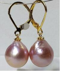 Hot sale new Style >>>>AAA 11x13mm South Sea Baroque Pearl Earrings 925