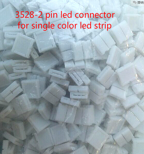 500pcs 8mm width 2 pin solderless led strip connector lighting accessaries for 3528 led strips single color free shipping
