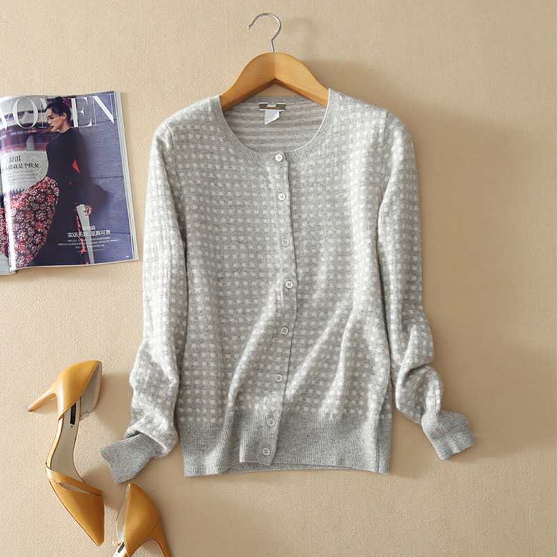 100 Cashmere Cardigan Female Crew Neck Cardigan Sweater Coats With Buttons Knitted Long Sleeve Autumn Casual