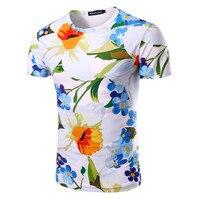 Flower Pattern 3D Print Men T Shirt 2017 Summer Fashion Short Sleeve Casual O Neck Male