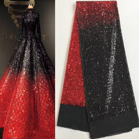 5yards Pc High Quality Red Black African Sequins Lace Fabric Shining French Net Lace Fabric