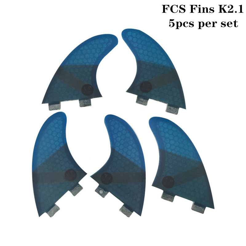 FCS K2 1 Surf Fins Fiberglass Honeycomb Fibre Surfboard Fin 5 in Per Set Blue color
