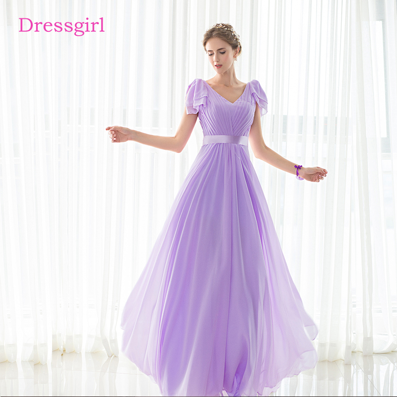 Lavender 2019 Cheap Bridesmaid Dresses Under 50 A-line V-neck Cap Sleeves  Chiffon Long Wedding Party Dresses 9eeedd704777