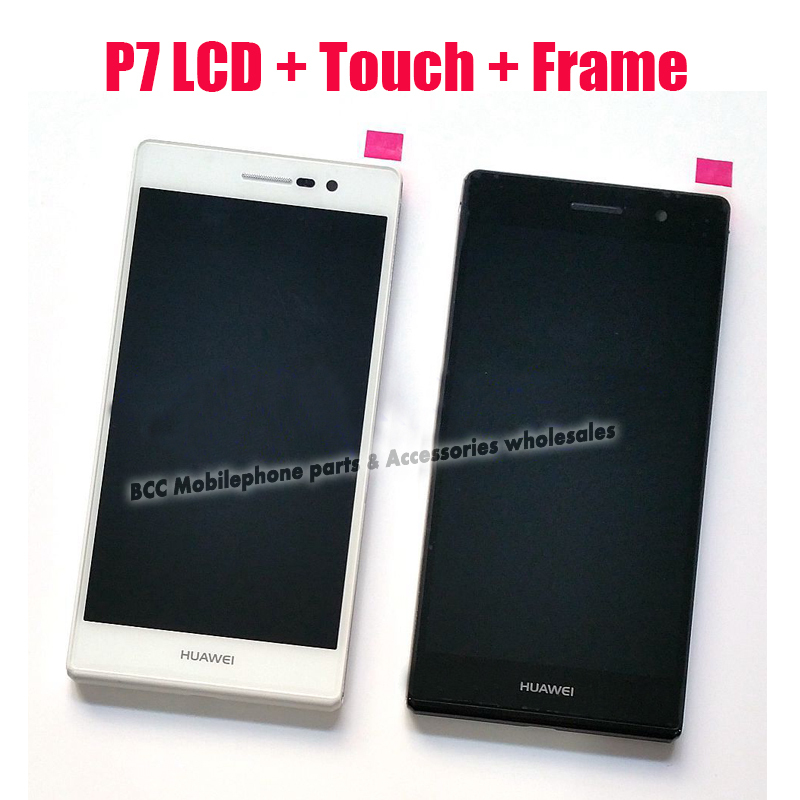 In stock!! 100% Original LCD Screen+Touch Screen Digitizer+Frame for Huawei Ascend P7 LCD Display Black/ white free shipping 3pc yueyao lcd display digitizer touch screen assembly for huawei ascend p7 p7 l10 p7 l00 p7 l05 lcd screen aseembly