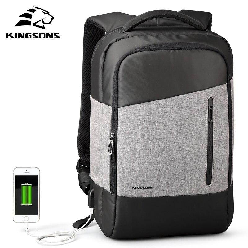 Kingsons Men Business Casual Daypacks USB Charging Laptop Backpack Phone Sucking Backpacks Teenager Travel Bags