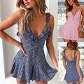 Женское платье без рукавов, с цветочным принтом и открытой спиной