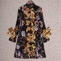 Nueva Primavera 2017 Diseñador Vestido de Las Mujeres Con Volantes Cuello de La Vendimia Retro Impresión Pajarita Adjunta Largo Elegante Camisa de Vestir de Alta Calidad