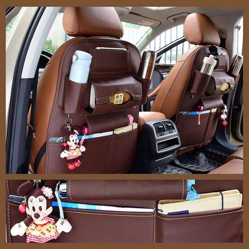 Car seat back storage bag Universal PU Leather Multifunction storage box Stowing Tidying Pocket Multi-Pocket  Auto Styling